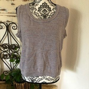 St John sleeveless knit top with metallic thread